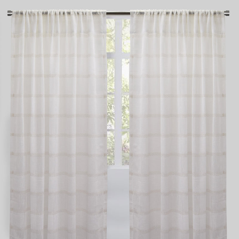 Jimmy Set of 2 Sheer Curtain Panels | Size 54X96 | Color Ivory