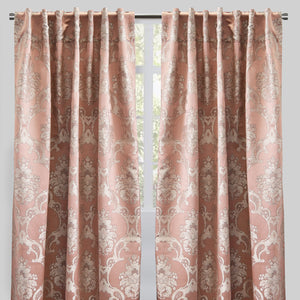 Katherine Set of 2 Jacquard Curtain Panels | Size 54X96 | Color Blush