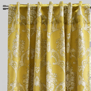 Katherine Set of 2 Jacquard Curtain Panels | Size 54X96 | Color Gold
