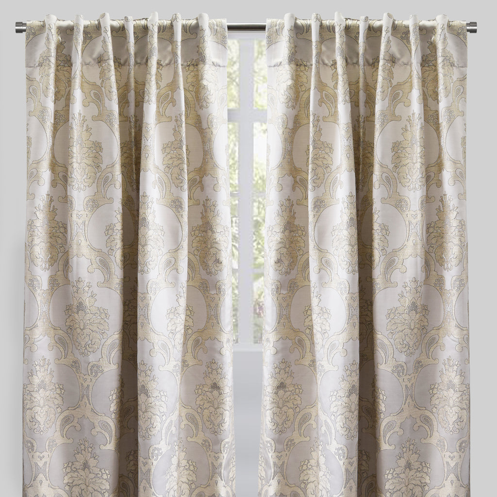 Katherine Set of 2 Jacquard Curtain Panels | Size 54X96 | Color Ivory