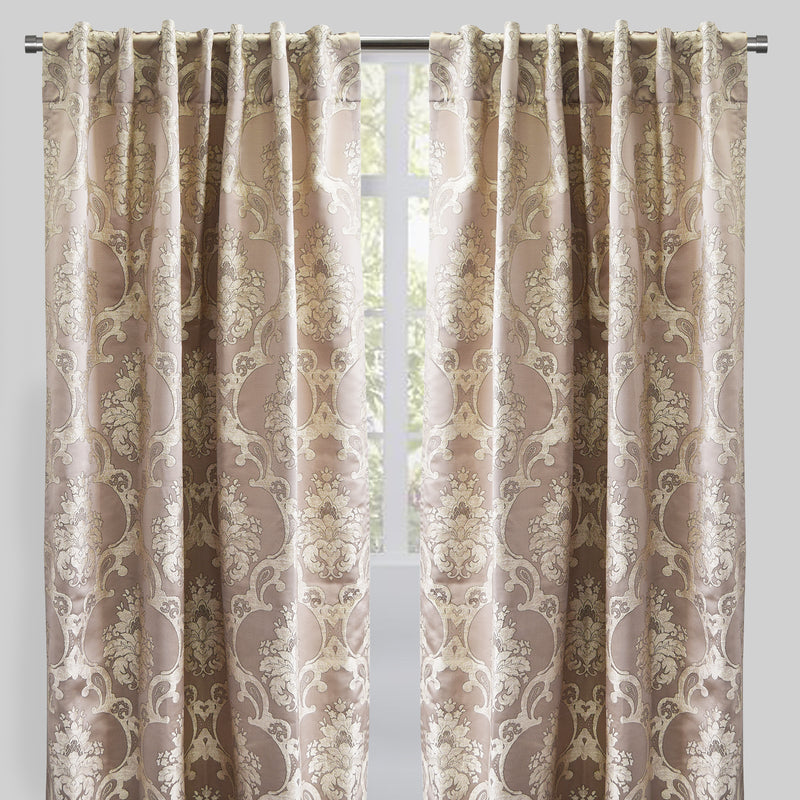 Katherine Set of 2 Jacquard Curtain Panels | Size 54X96 | Color Mocha