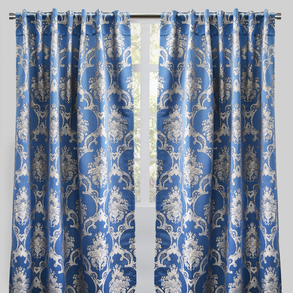 Katherine Set of 2 Jacquard Curtain Panels | Size 54X96 | Color Ocean