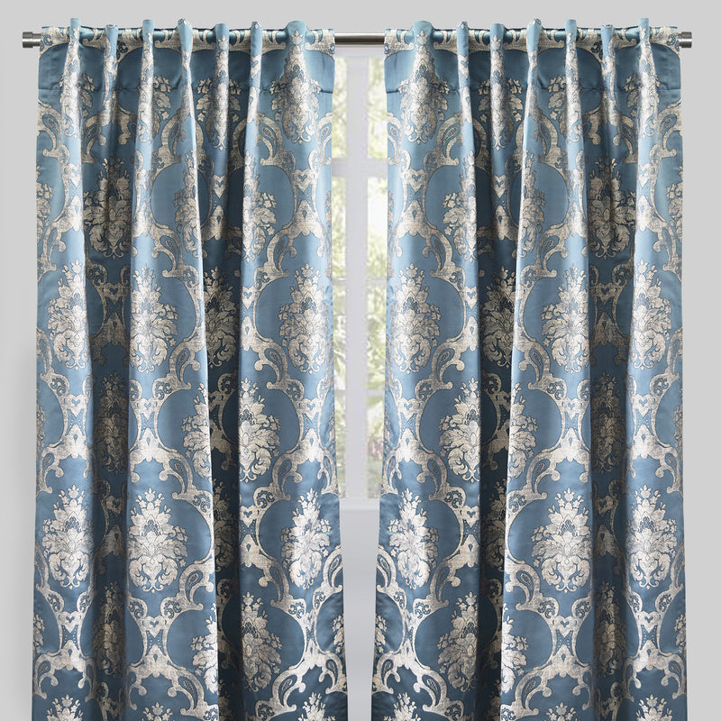 Katherine Set of 2 Jacquard Curtain Panels | Size 54X96 | Color Sky