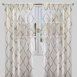 Katie Set of 2 Linen Curtain Panels | Size 54X96 | Color Beige