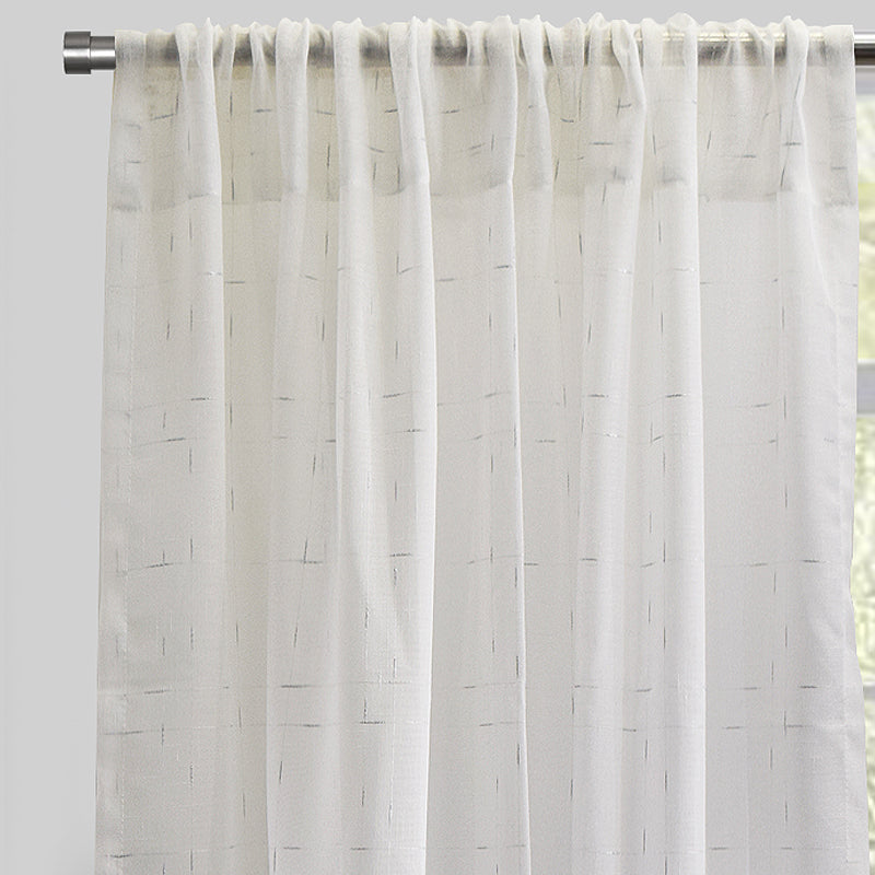 Larson Curtain Panels | Size 54x84 | Color White/Silver