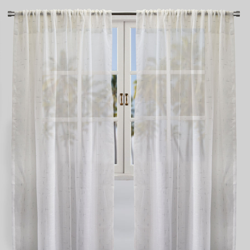 Larson Curtain Panels | Size 54x96 | Color White/Silver