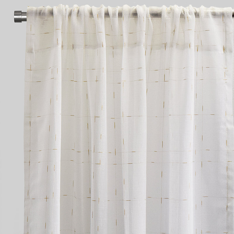 Larson Curtain Panels | Size 54x84 | Color White/Gold