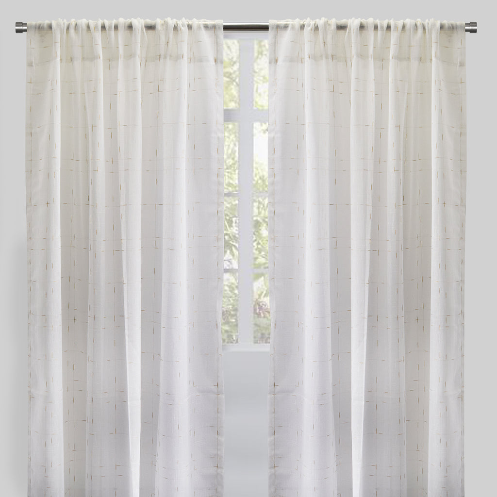 Larson Curtain Panels | White/Gold | More Sizes Available