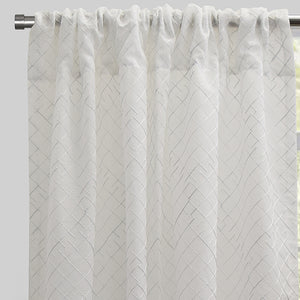 Lasky Set of 2 Embroidered Sheer Curtain Panels | Size 54X96 | Color White