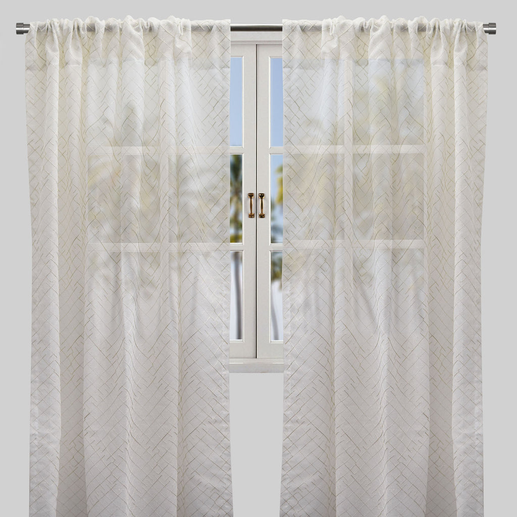 Lasky Set of 2 Embroidered Sheer Curtain Panels | Size 54X96 | Color Ivory