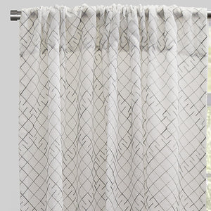 Lasky Set of 2 Embroidered Sheer Curtain Panels | Size 54X96 | Color Silver