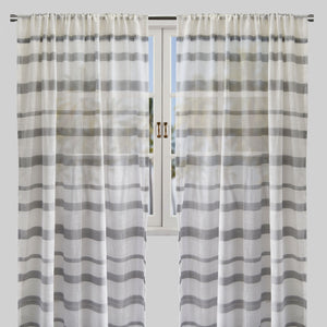 Mora Set of 2 Linen Look Curtain Panels | Size 54X96 | Color Gray