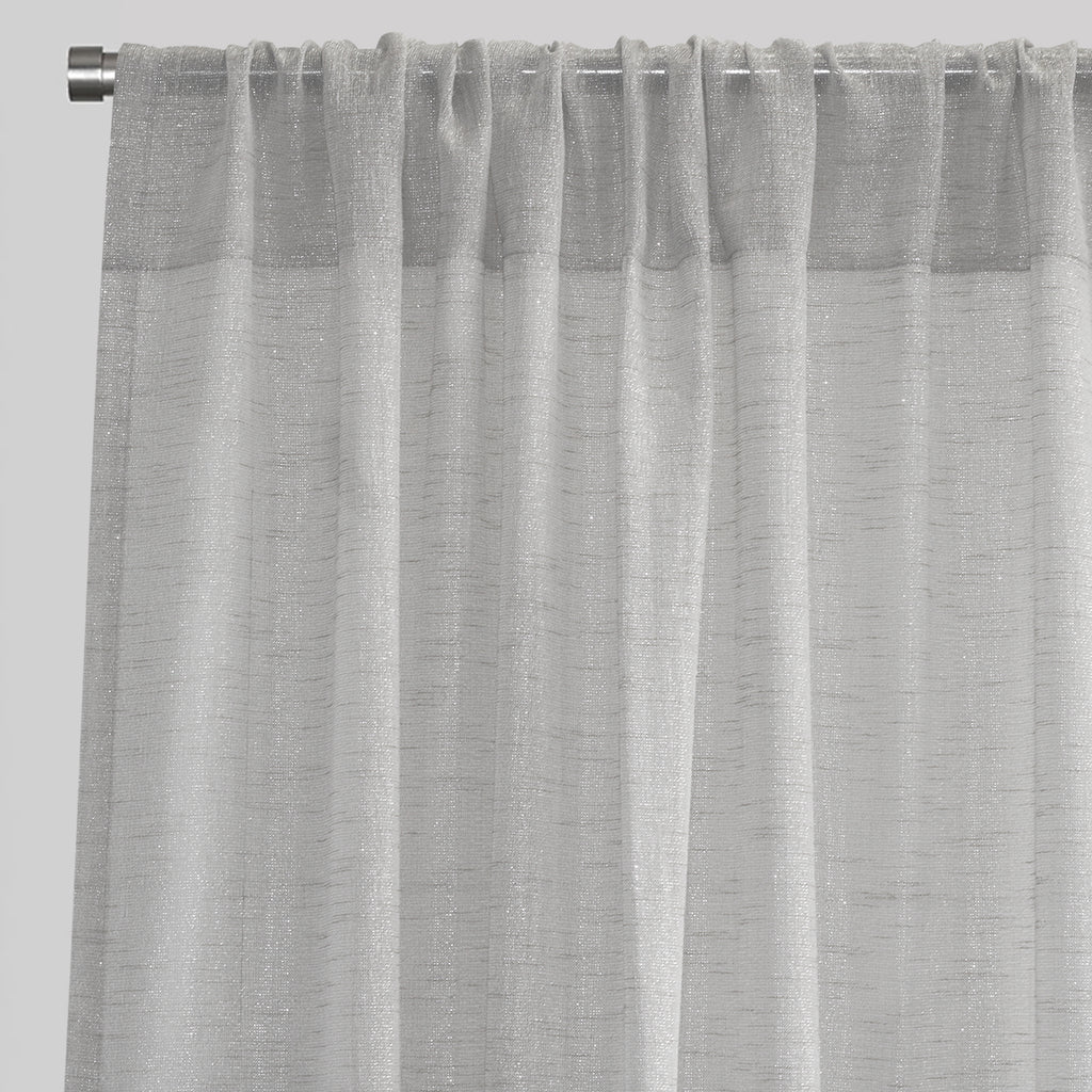 Morocco Set of 2 Sheer Curtain Panels | Sizes 54X84 & 54X96 | Color Silver