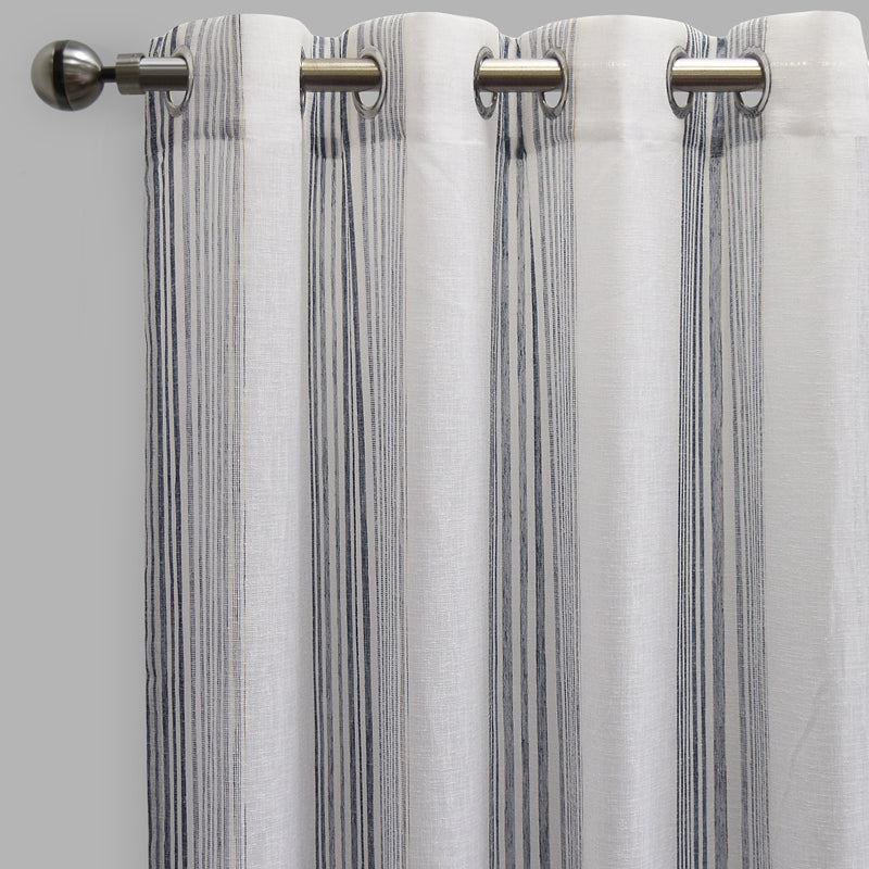 Morro Set of 2 Sheer Curtain Panels | Size 54X96 | Color Navy