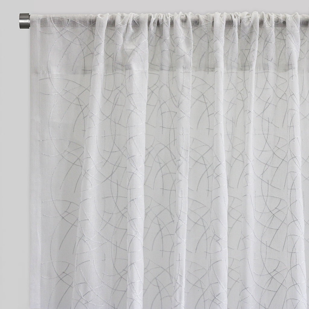 Neptune Set of 2 Sheer Curtain Panels | Size 54X96 | Color White