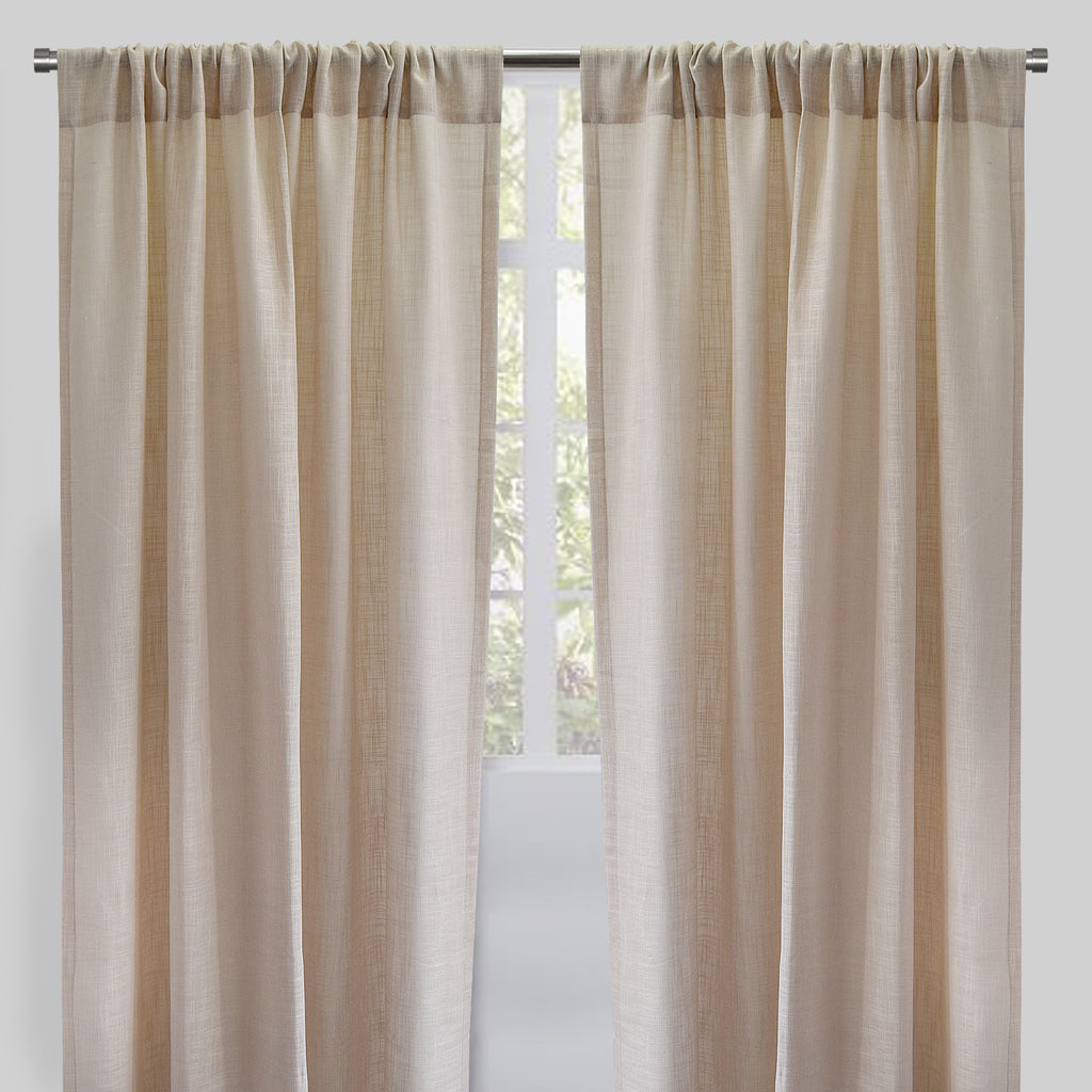 Ontario Set of 2 Linen Look Curtain Panels | Size 54X96 | Color Cream