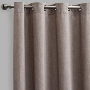 Pandora Set of 2 Metallic Chenille Curtain Panels | Size 54X96 | Color Flax