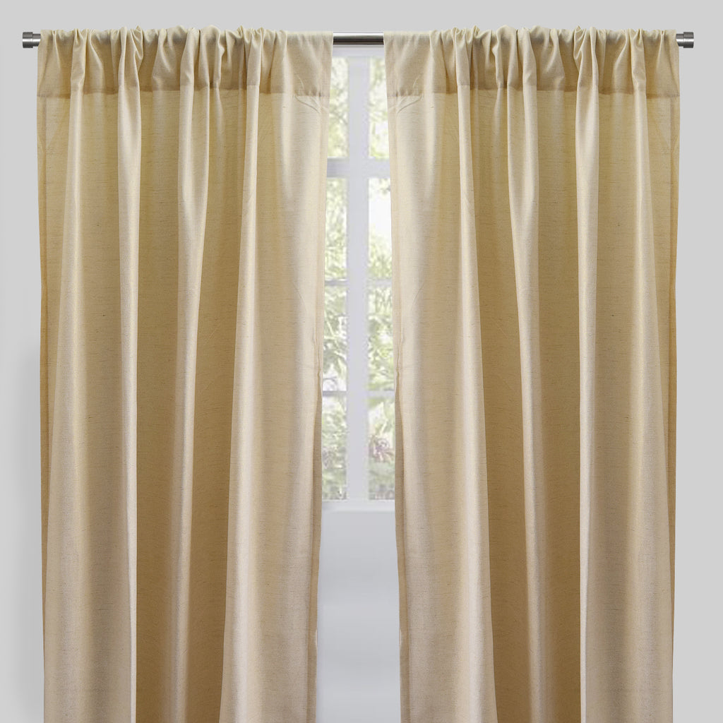 Pixie Set of 2 Metallic Linen Curtain Panel | Size 54X96 | Color Champagne