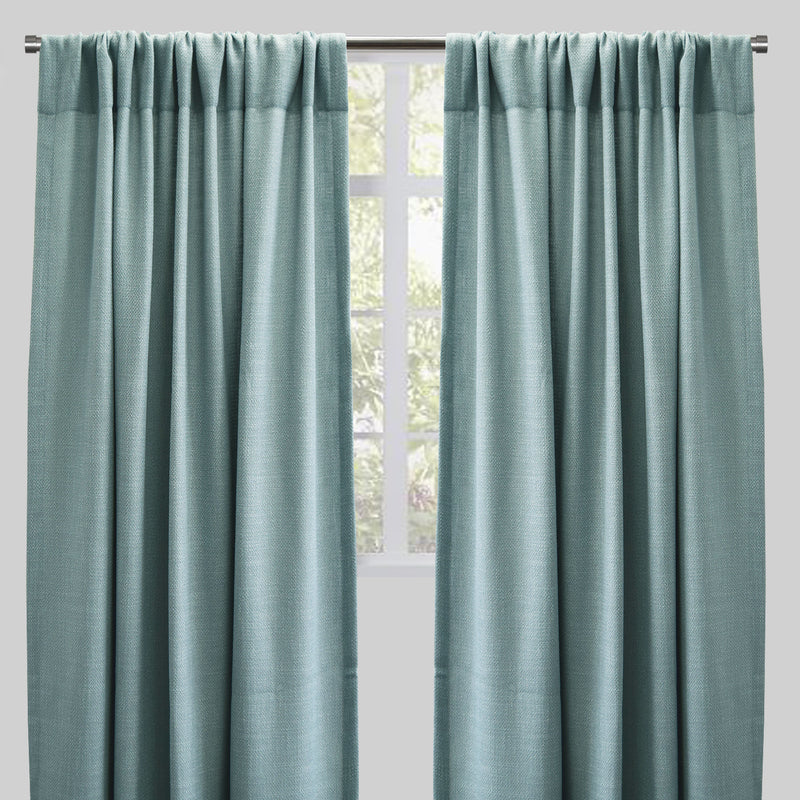 Reno Set of 2 Linen Look Curtain Panels | Size 54X96 | Color Sky
