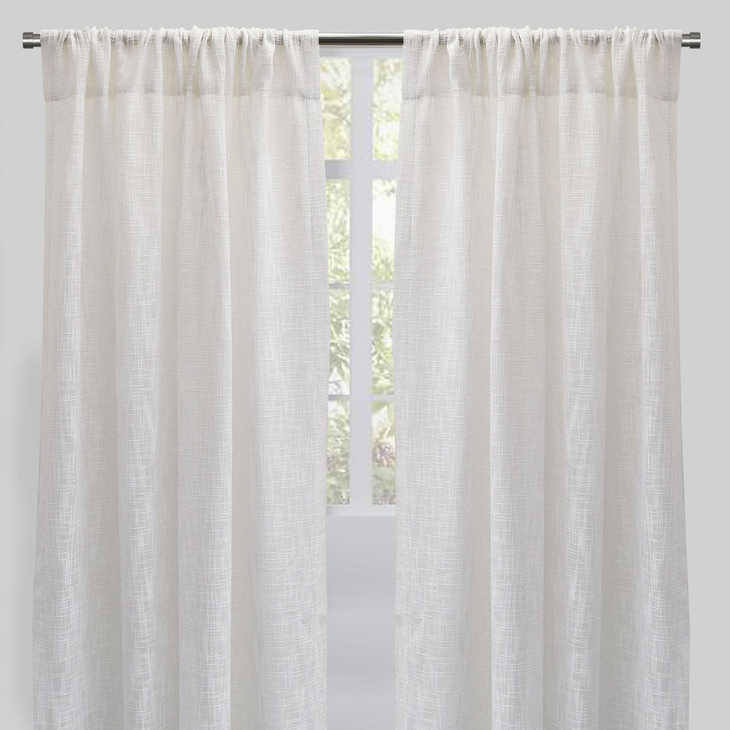 Rome Set of 2 Linen Look Curtain Panels | Size 54X96 | Color White