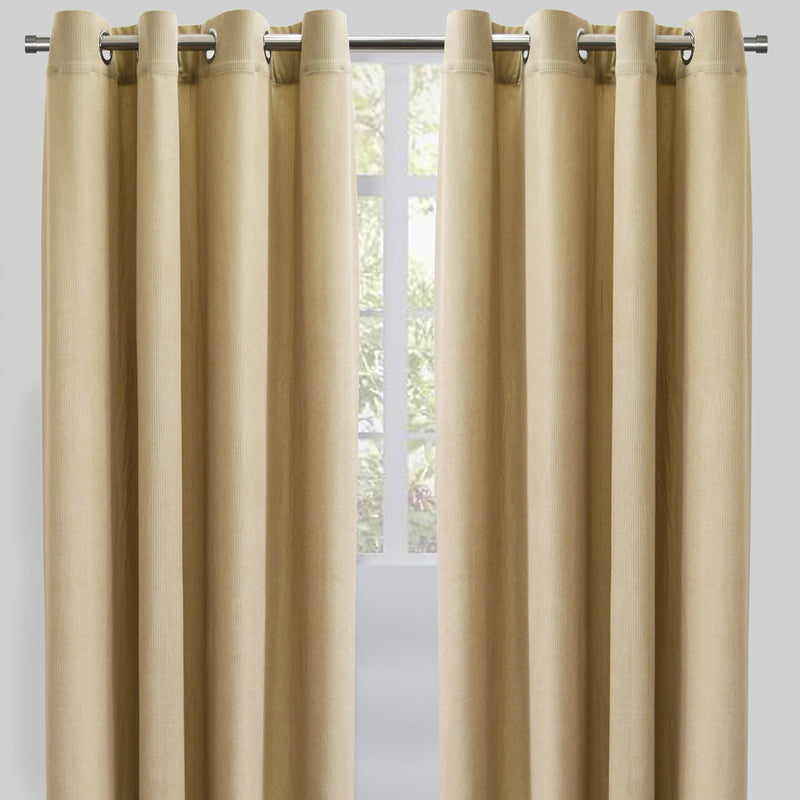Rory Set of 2 Corduroy Curtain Panels | Size 54X96 | Color Latte