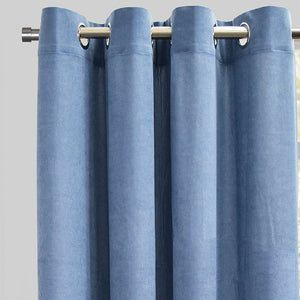 Rory Set of 2 Corduroy Curtain Panels | Size 54X96 | Color Ocean