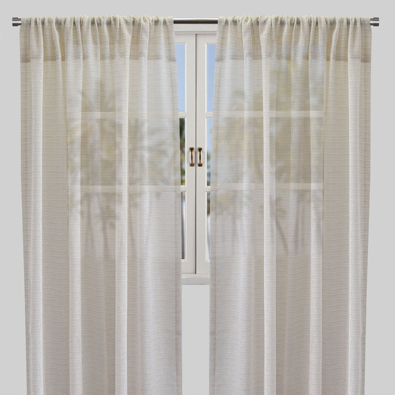 Rosa Set of 2 Sheer Curtain Panels | Size 54X96 | Color Beige
