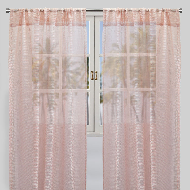 Ruby Set of 2 Sheer Curtain Panels | Size 54X96 | Color Pink