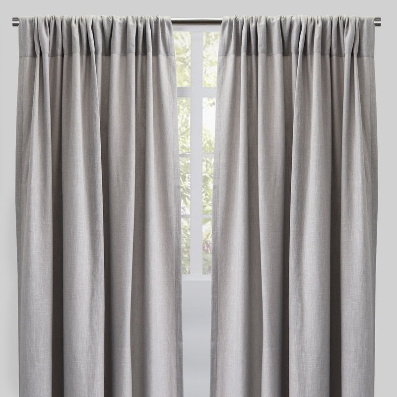 Saint Set of 2 Linen Blend Curtain Panels | Size 54X96 | Color Silver