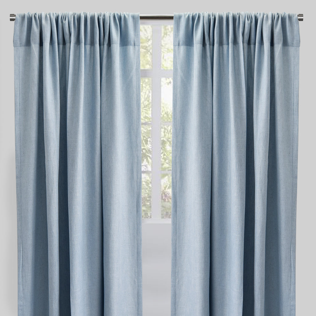 Saint Set of 2 Linen Blend Curtain Panels | Size 54X96 | Color Sky