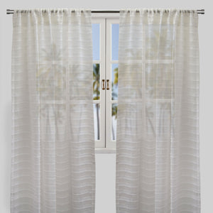 Samina Set of 2 Sheer Curtain Panels | Size 54X96 | Color Ivory