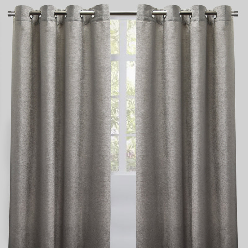 Throne Set of 2 Chenille Curtain Panels | Available Sizes 54X84 & 54X96 | Color Silver