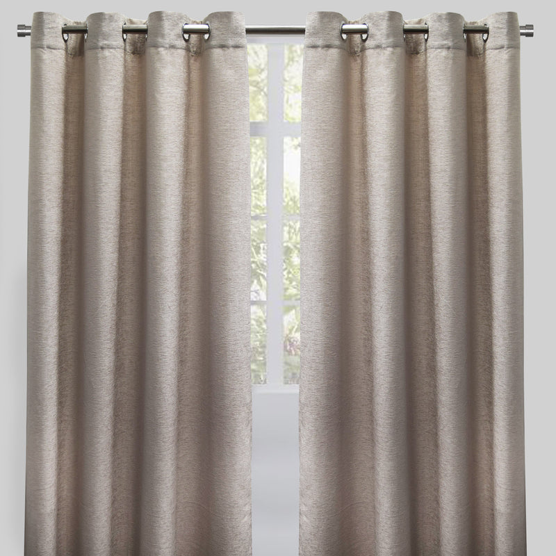 Throne Set of 2 Chenille Curtain Panels | Available Sizes 54X84 & 54X96 | Color Beige