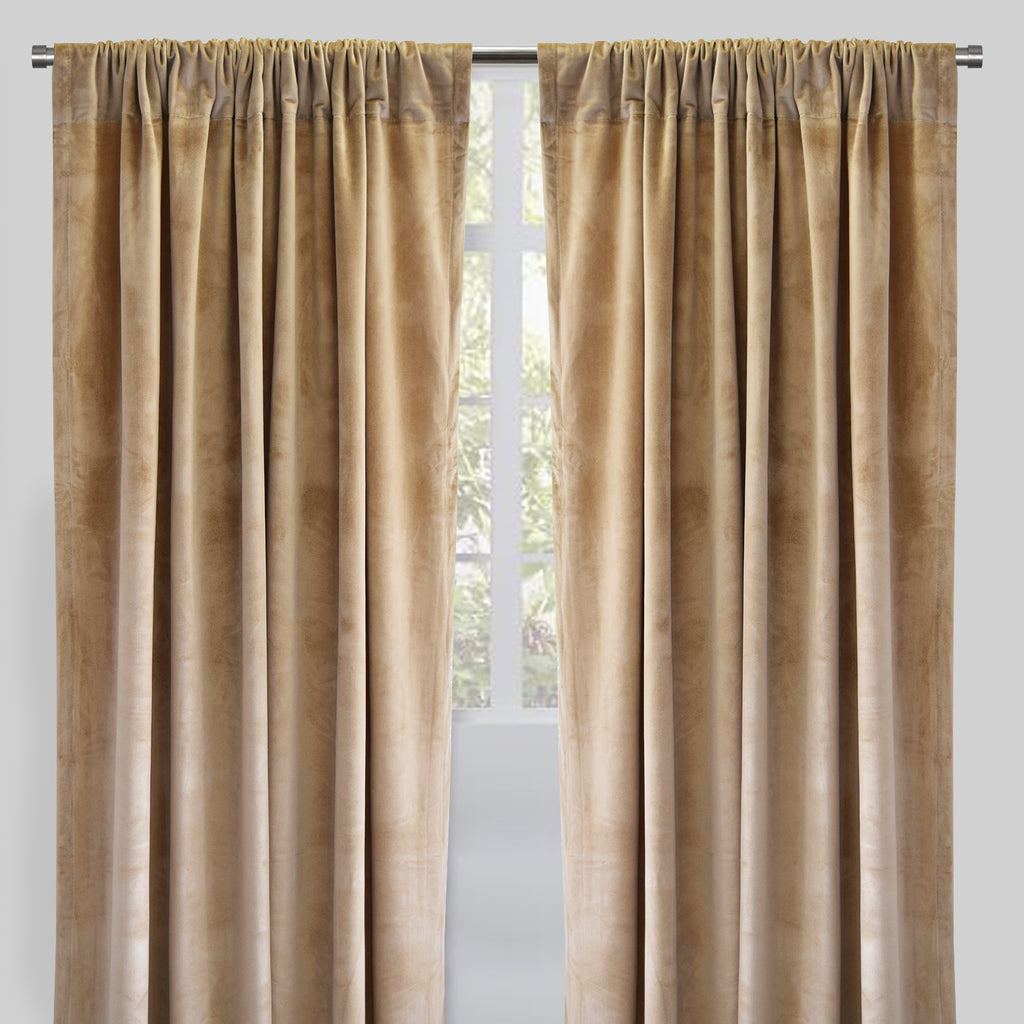 Torino Set of 2 Velvet Curtain Panels | Size 54X96 | Color Latte