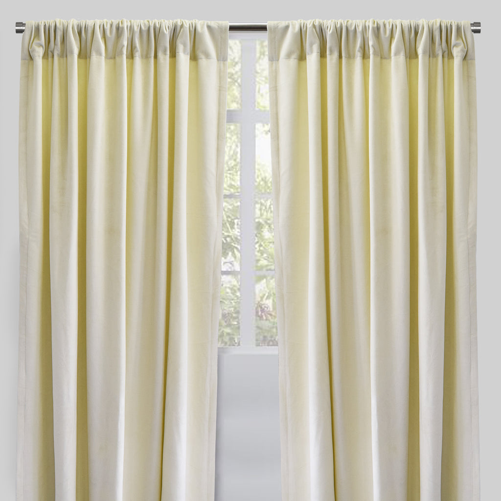 Torino Set of 2 Velvet Curtain Panels | Size 54X96 | Color Ivory