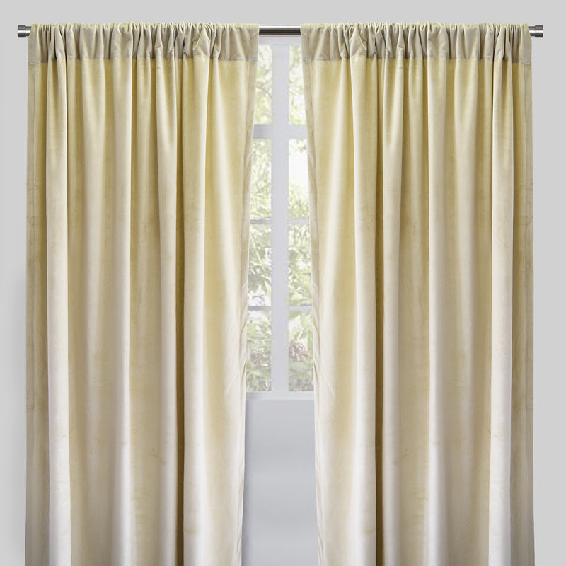 Torino Set of 2 Velvet Curtain Panels | Size 54X96 | Color Cream