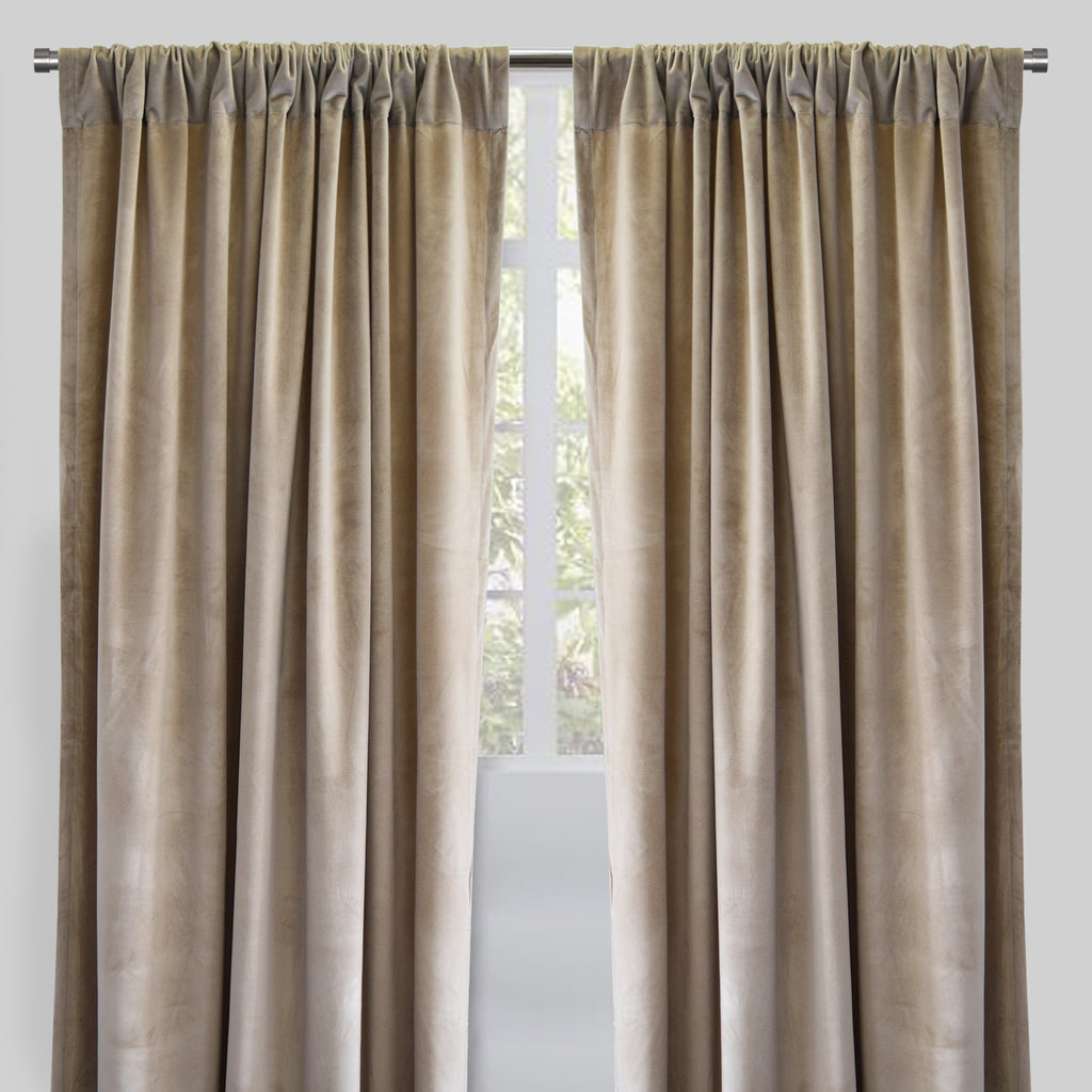 Torino Set of 2 Velvet Curtain Panels | Size 54X96 | Color Beige