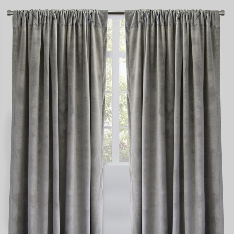 Torino Set of 2 Velvet Curtain Panels | Size 54X96 | Color Silver
