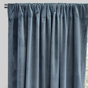 Torino Set of 2 Velvet Curtain Panels | Size 54X84 | Color Denim