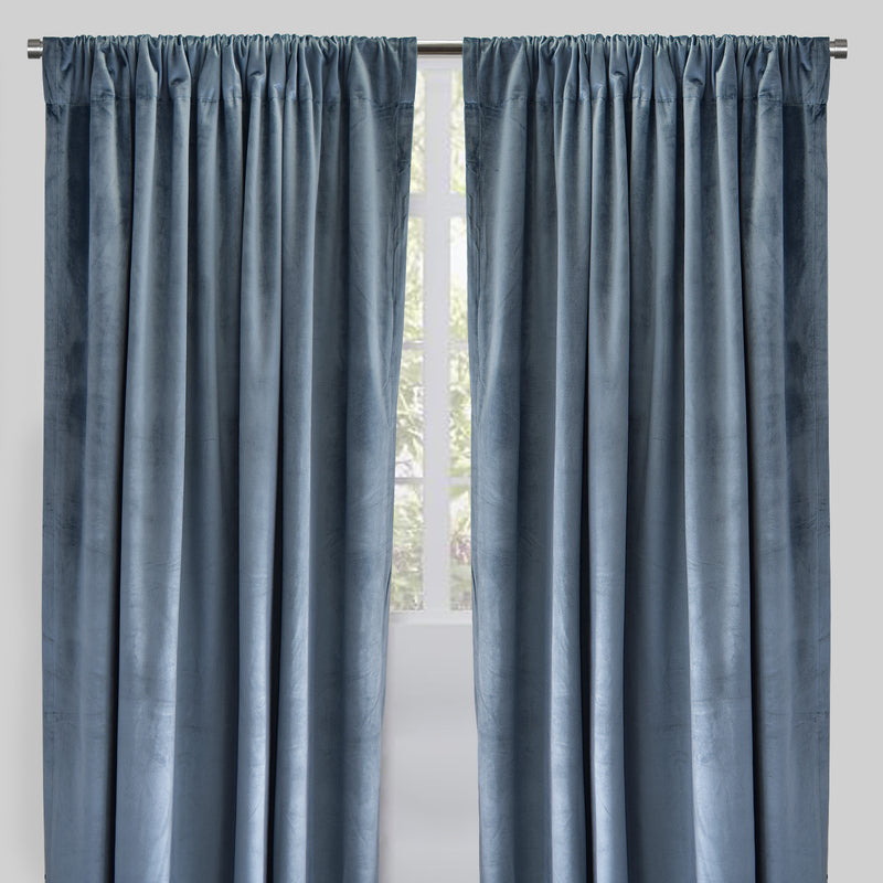 Torino Set of 2 Velvet Curtain Panels | Size 54X96 | Color Denim