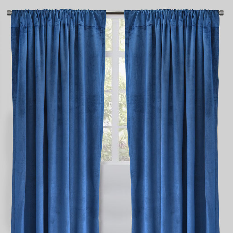 Torino Set of 2 Velvet Curtain Panels | Size 54X96 | Color Navy
