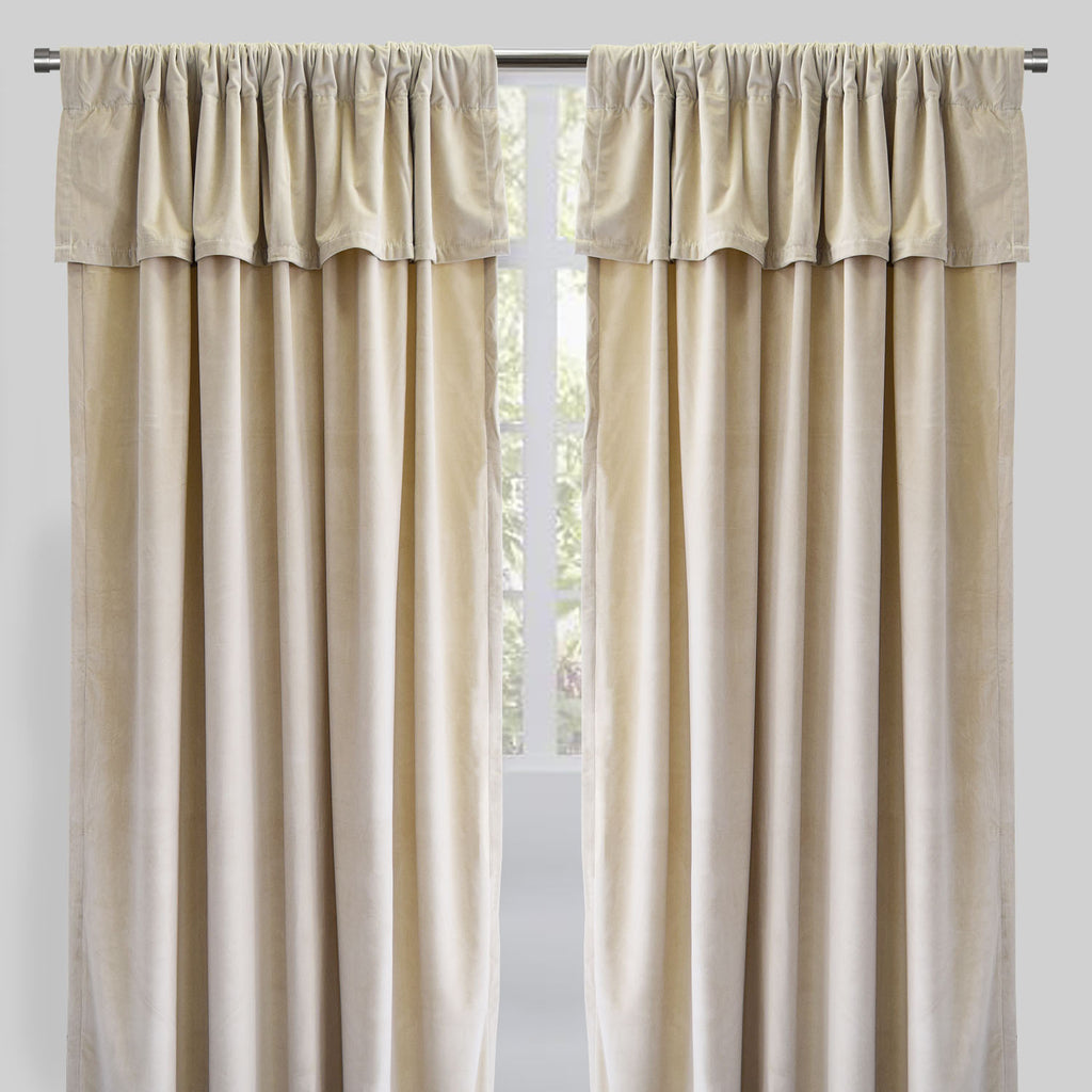 Velluto Set of 2 Velvet Curtain Panels with Valance | Size 54X96 | Color Ecru
