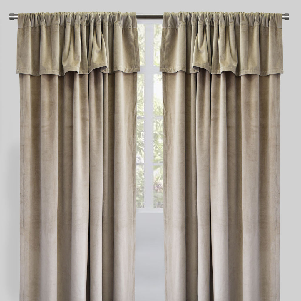 Velluto Set of 2 Velvet Curtain Panels with Valance | Size 54X96 | Color Flax
