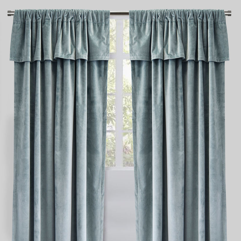 Velluto Set of 2 Velvet Curtain Panels with Valance | Size 54X96 | Color Tiffany