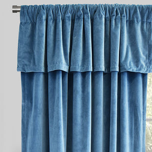 Velluto Set of 2 Velvet Curtain Panels with Valance | Size 54X96 | Color Ocean