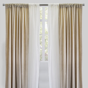 Velluto Set of 4 Velvet Curtain Panels with Sheer | Size 54X96 | Color Ecru