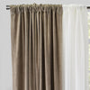 Velluto Set of 4 Panels: 2 Velvet Curtain Panels with 2 Sheer Curtain Panels | Size 54X96 | Color Flax