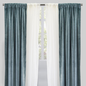 Velluto Set of 4 Panels: 2 Velvet Curtain Panels with 2 Sheer Curtain Panels | Size 54X96 | Color Tiffany