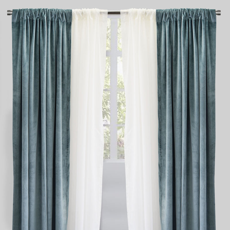 Velluto Set of 4 Velvet Curtain Panels with Sheer | Size 54X96 | Color Tiffany