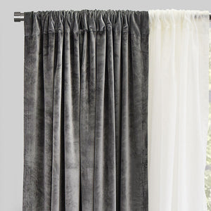Velluto Set of 4 Velvet Curtain Panels with Sheer | Size 54X96 | Color Platinum